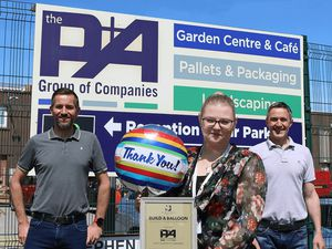 From left; Andrew Baker Finance Director at P&A Group Centre; hospice fundraiser Sarah Povey and director Rhys Hughes