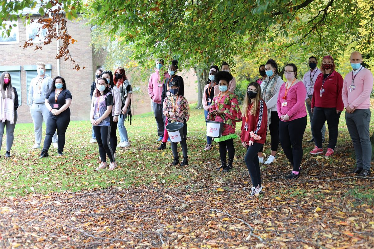 Health and social care students out and about with their collecting buckets