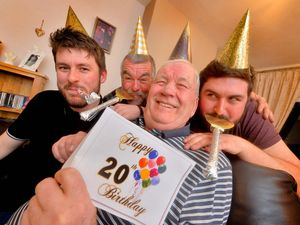 Norman Jones celebrates his 20th birthday with son Derek Jones, 55 and grandsons Tom Jones, 26, and Harry Jones, 23.