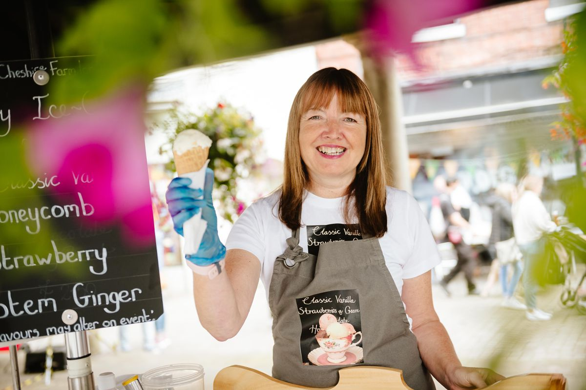 Jackie Higgs of Traditional Ice Cream Cycle based in Whixhall at Market Drayton's Ginger and Spice Festival
