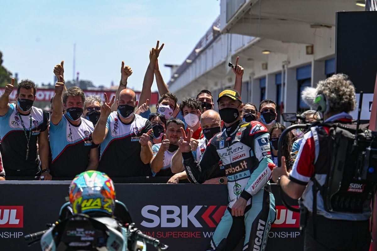 Davies celebrates with Team Go Eleven. Picture: Luca Gorini