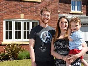 Tash Dutrieu, James Wentworth-Bowyer and their son, Theo at The Spinney in Shrewsbury