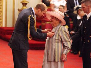 Great-grandmother Kathleen Hartshorne was 'overwhelmed' to collect her MBE