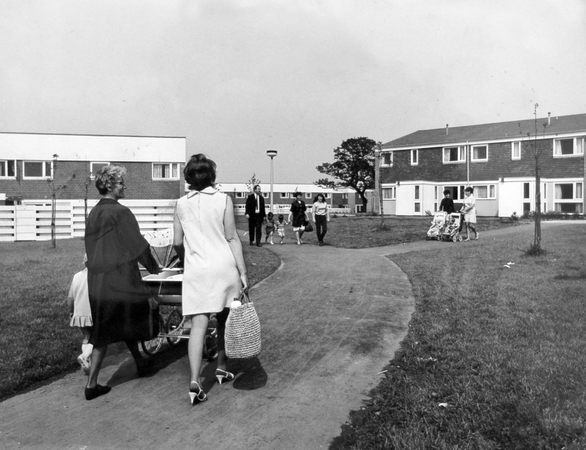 Sutton Hill, the new town's first housing estate, seen here in the late 1960s, created a traffic-free environment for pedestrians.