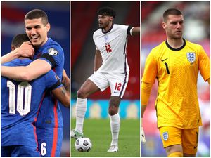 Conor Coady, Tyrone Mings and Sam Johnstone in England colours.