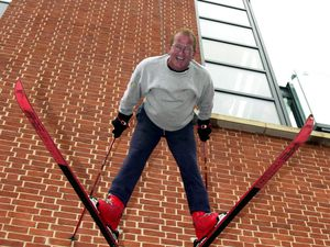 Eddie 'The Eagle' Edwards makes his descent down the new Tesco