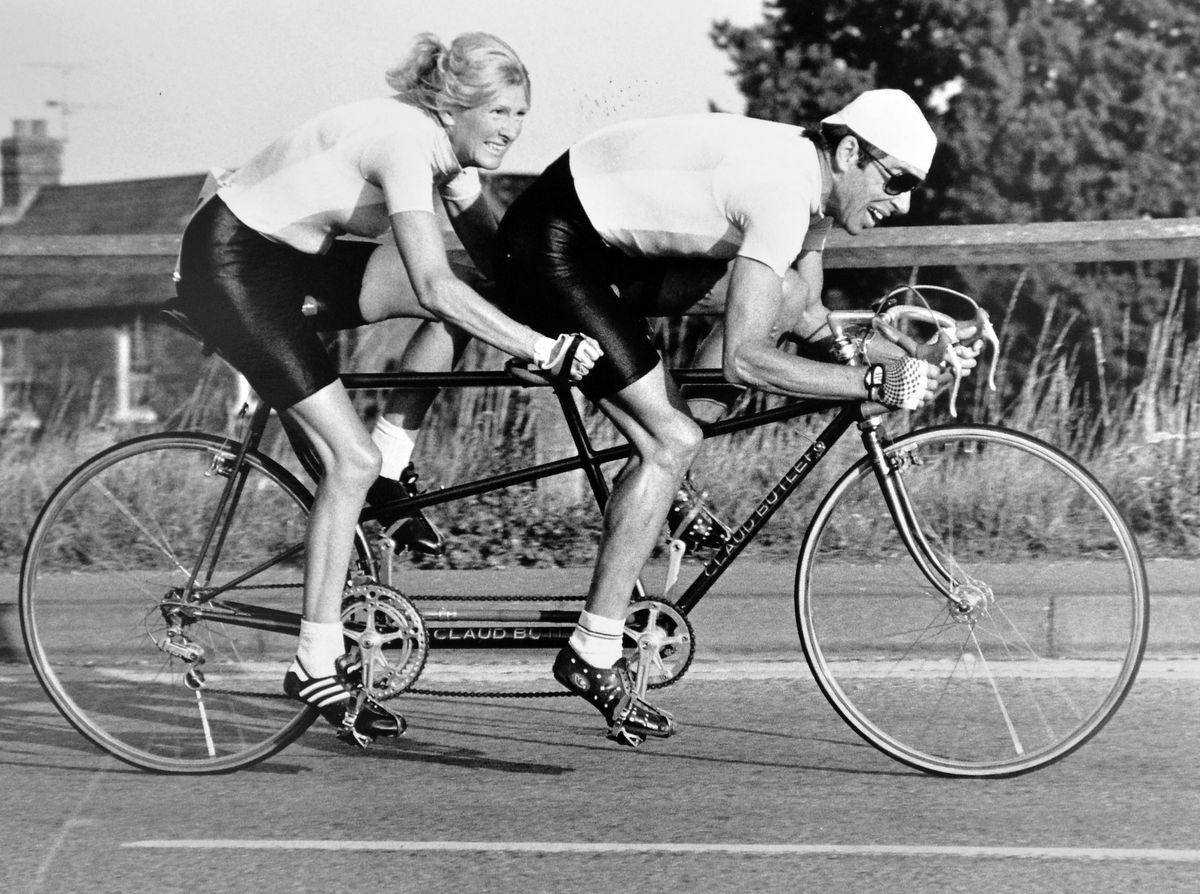 An August 1989 picture of the couple in cycling action