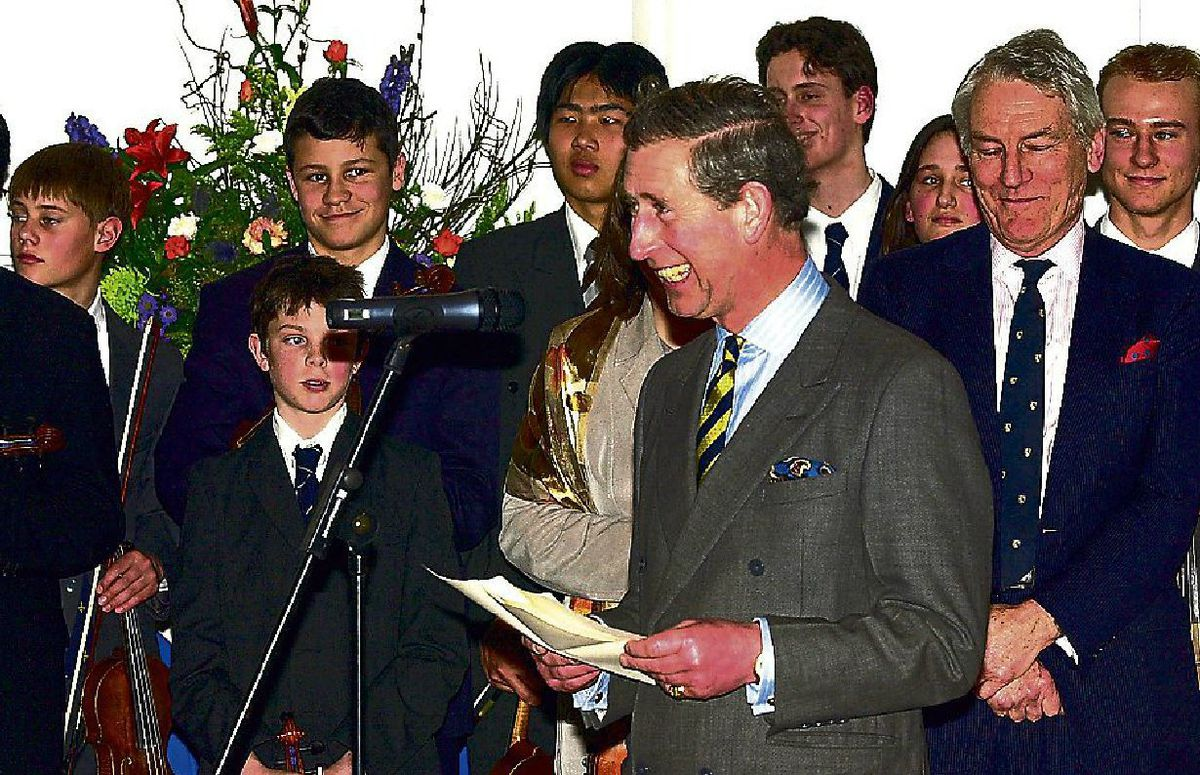 The prince gives a speech before opening the new music centre at Shrewsbury School during a tour of the county in 2001