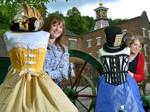 LAST COPYRIGHT STEVE LEATH SHROPSHIRE STAR 07/07/2021..Pics at Enginuity (Coalbrookdale), and Costumiers: Felicity Gee (Weston Under Lizard), Alison Phillips from Shrewsbury, with clothes they have made, getting ready for the steampunk event coming up..