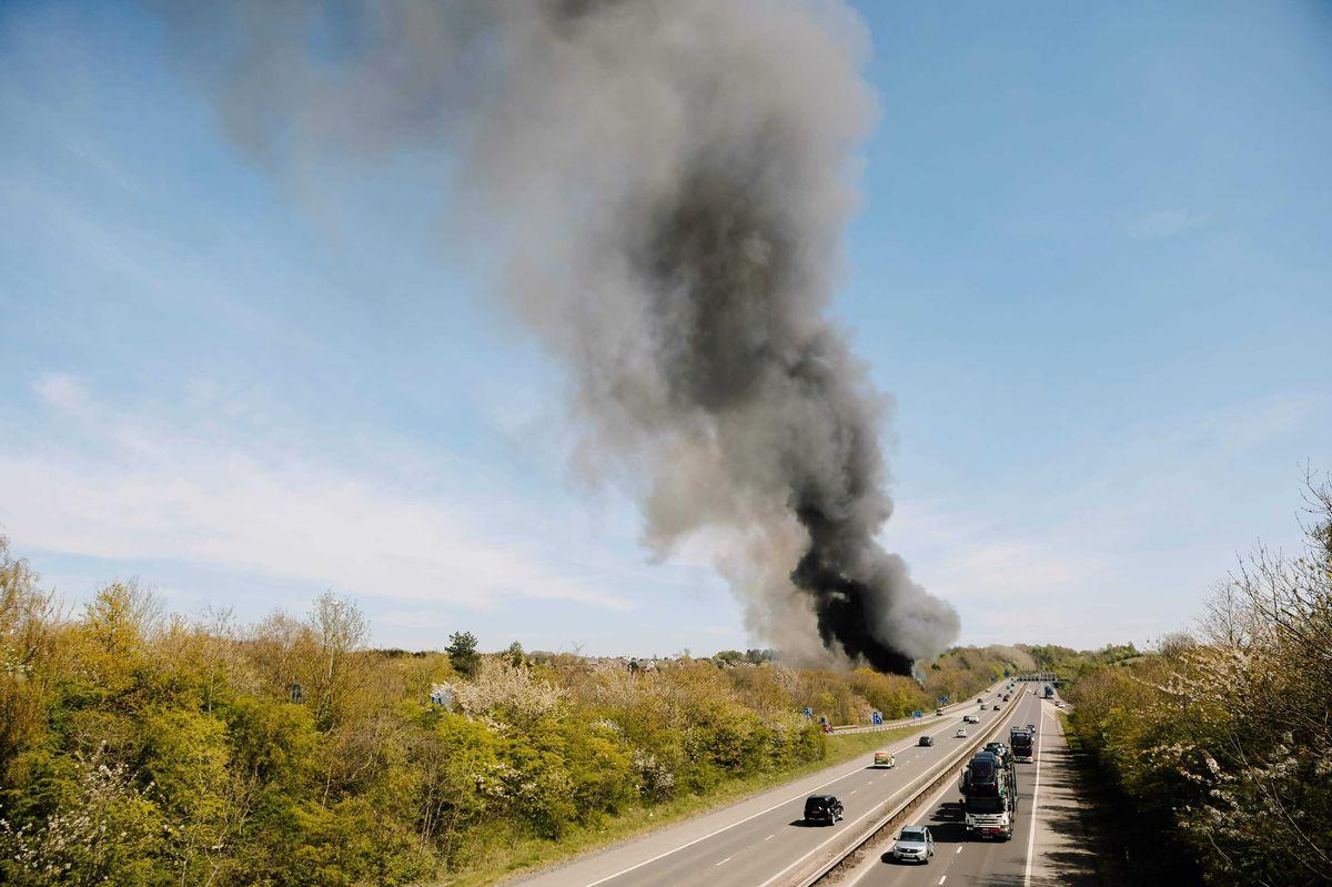Smoke rises over Telford