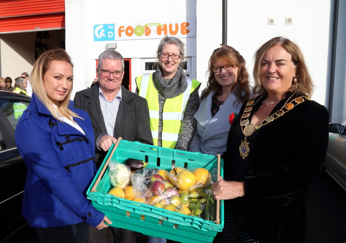 Katy Anderson, centre launches the Shrewsbury Food Hub depot, with supporters Sarah Neate of CMUK, Rob Shelley of Shelley Signs, Liz Lowe of Morris Property, and Mayor of Shrewsbury Jane Mackenzie