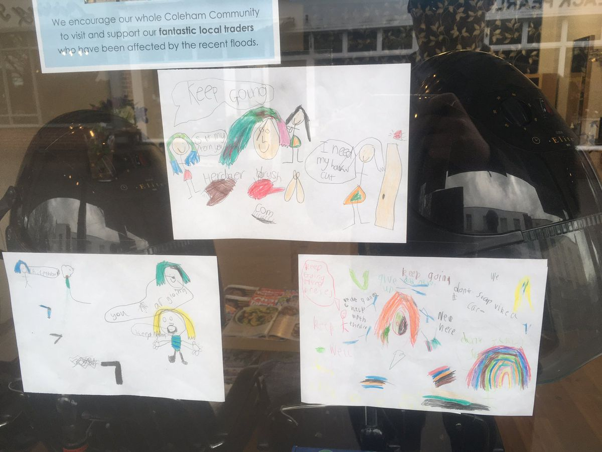 Some of the drawings Coleham Primary School pupils made for businesses in Coleham