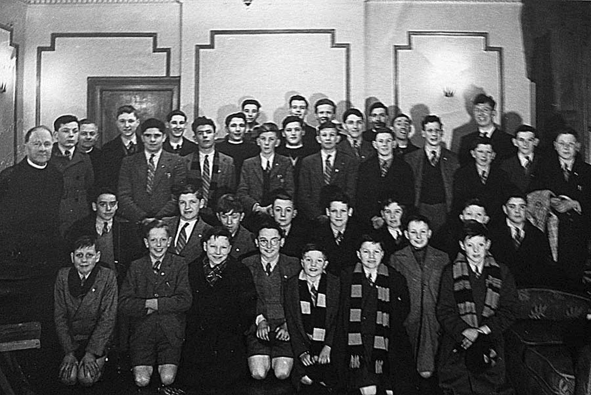 Children at the Roman Catholic school at Pell Wall Hall, Market Drayton, with Tom Baker top right.