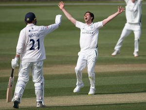 Worcestershire's Ed Barnard celebrates taking the wicket of Essex's Dan Lawrence during the LV= Insurance County Championship match at the Essex County Ground, Chelmsford. Picture date: Thursday April, 8, 2021. PA Photo. See PA story CRICKET Essex. Photo credit should read Joe Giddens/PA Wire.   RESTRICTIONS: Editorial use only. No commercial use without prior  written consent of the ECB. Still image use only. No moving images to emulate broadcast. No removing or obscuring of sponsor logos.