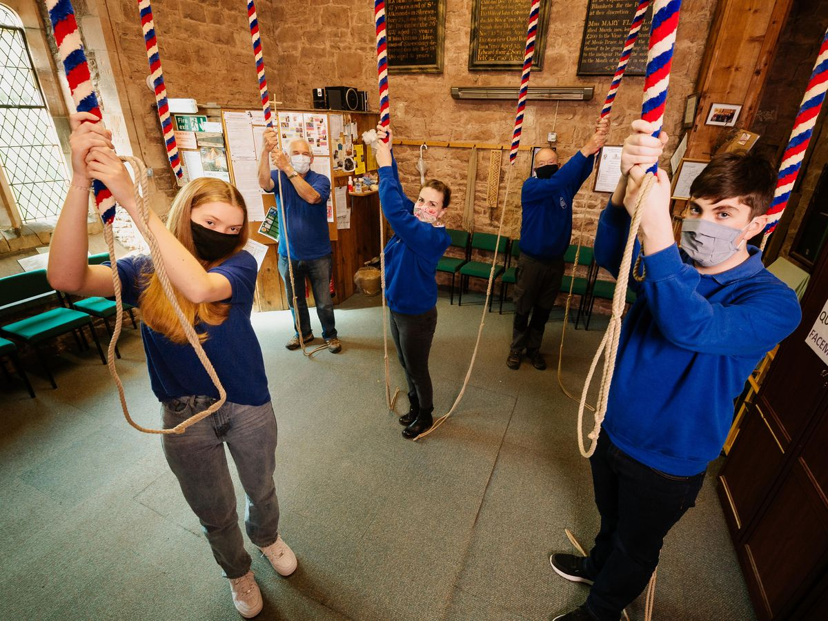 Three Duke of Edinburgh award winners will be ringing the bells of Trinity Church in Meole Brace. L>R:  Frankie Hartland 16, Andy Digby, Laura Burrows, Michael Carding and Josh Oakley 16