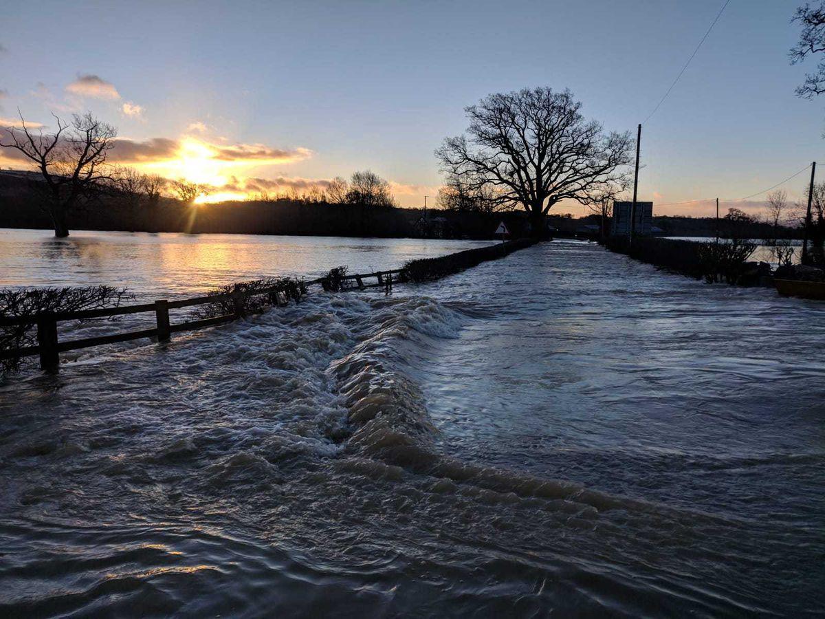 Flood water at Welshpool airport. Pic: @MontyFireSTN