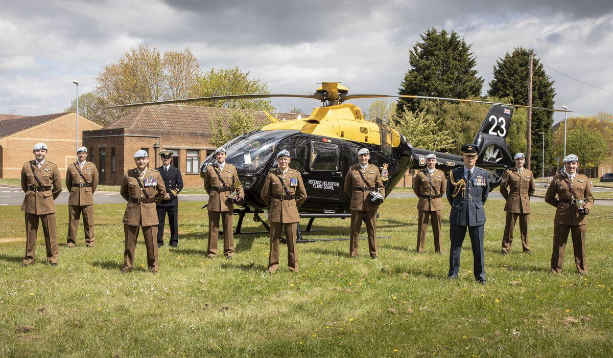 Graduates from the ceremony with Colonel Tim Peake. From left, Capt Sharples, Capt Spencer, Lt Col Pearce, Lt Gibbett, Capt Kane, Col Peake, Capt Forrester, Capt Jessup, Gp Capt Wadlow, Sgt McSweeney and Capt Reynolds.