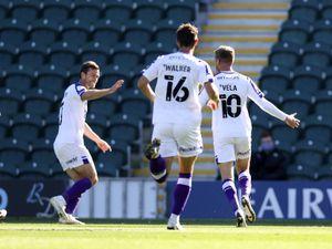 Josh Vela of Shrewsbury Town celebrates after scoring a goal to make it 0-1 (AMA)