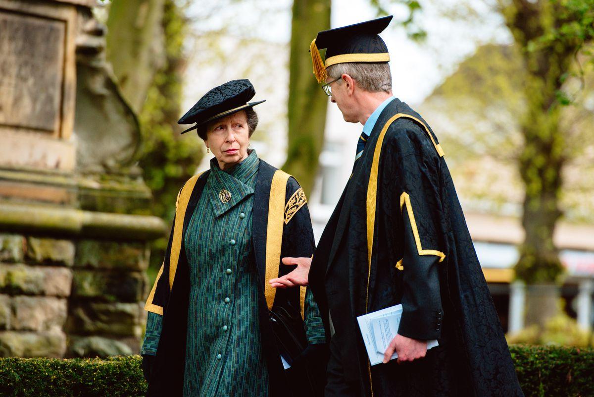 Princess Anne leaving St Nicolas Church in Newport