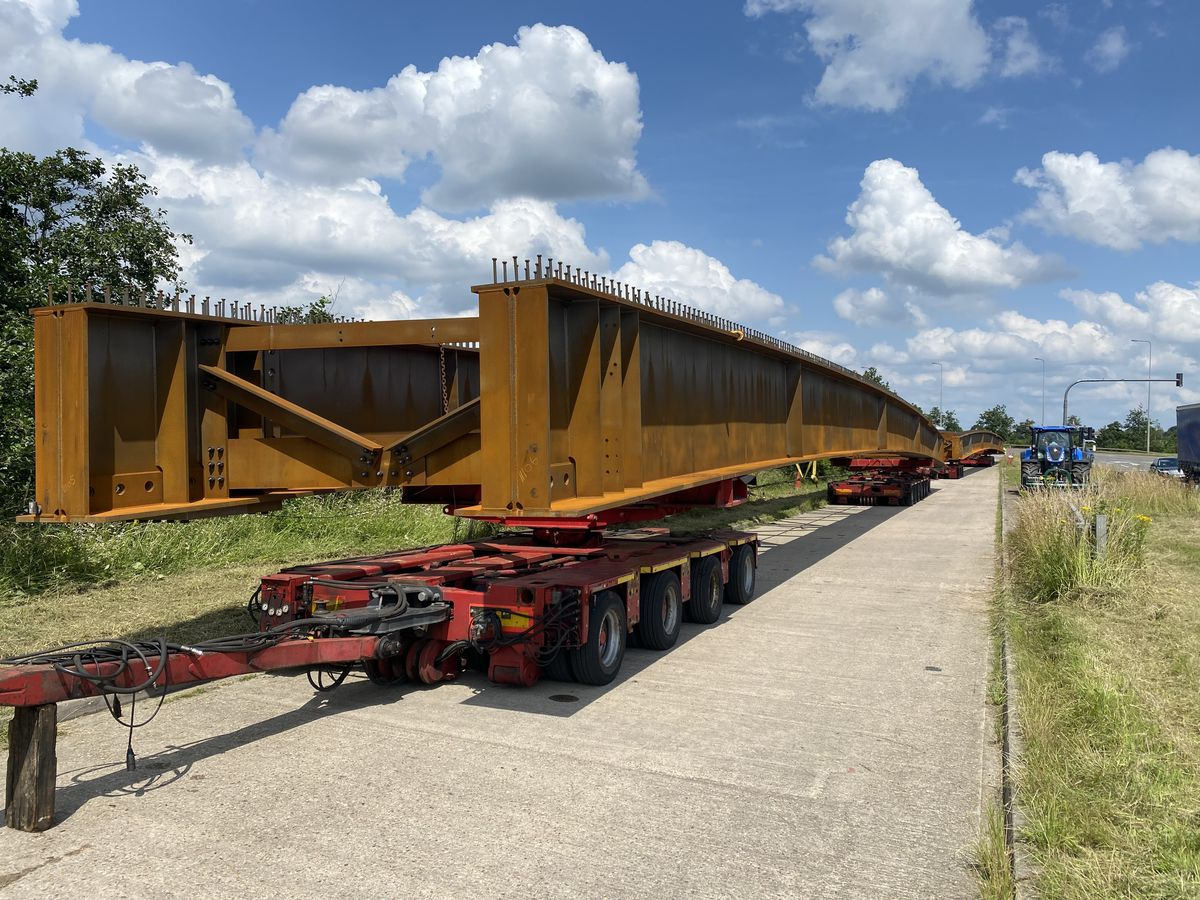 The giant steel beams that will be lifted into place next weekend. Photo: Highways England