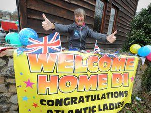 I'm home! Transatlantic rower and record-breaker Di Carrington, of Pontesbury, celebrates her return after her adventure