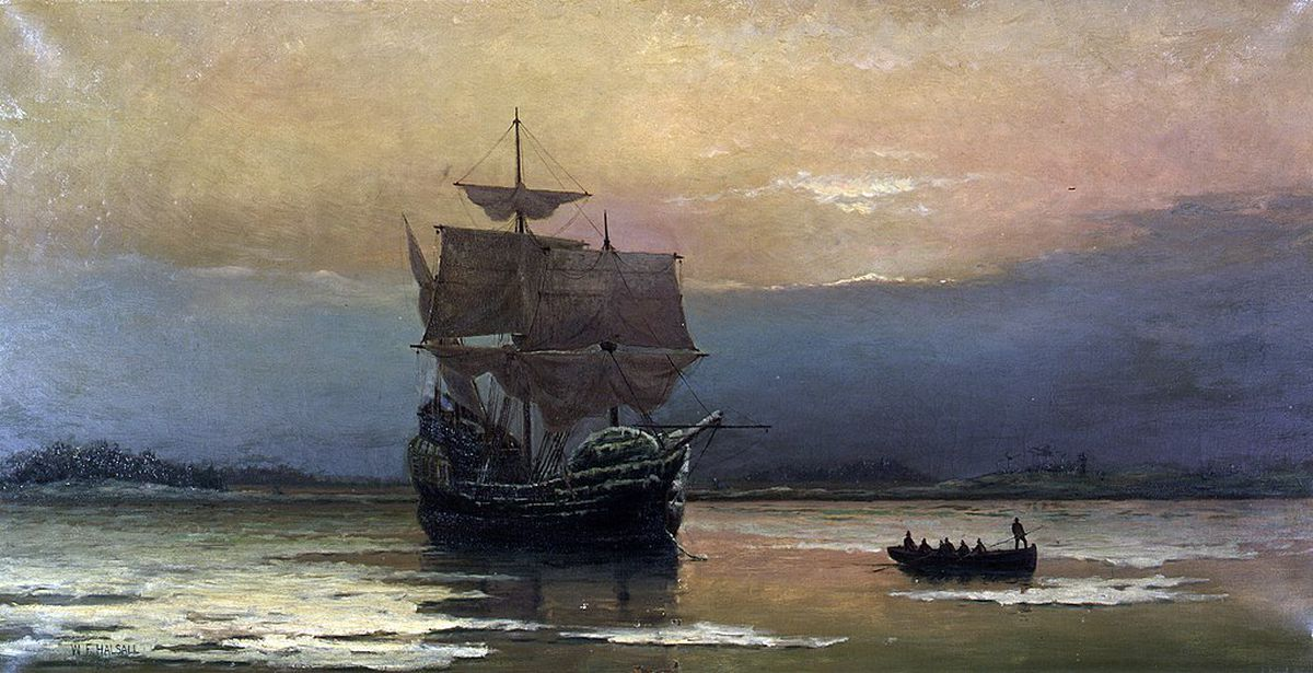 A painting of The Mayflower, which sailed to America