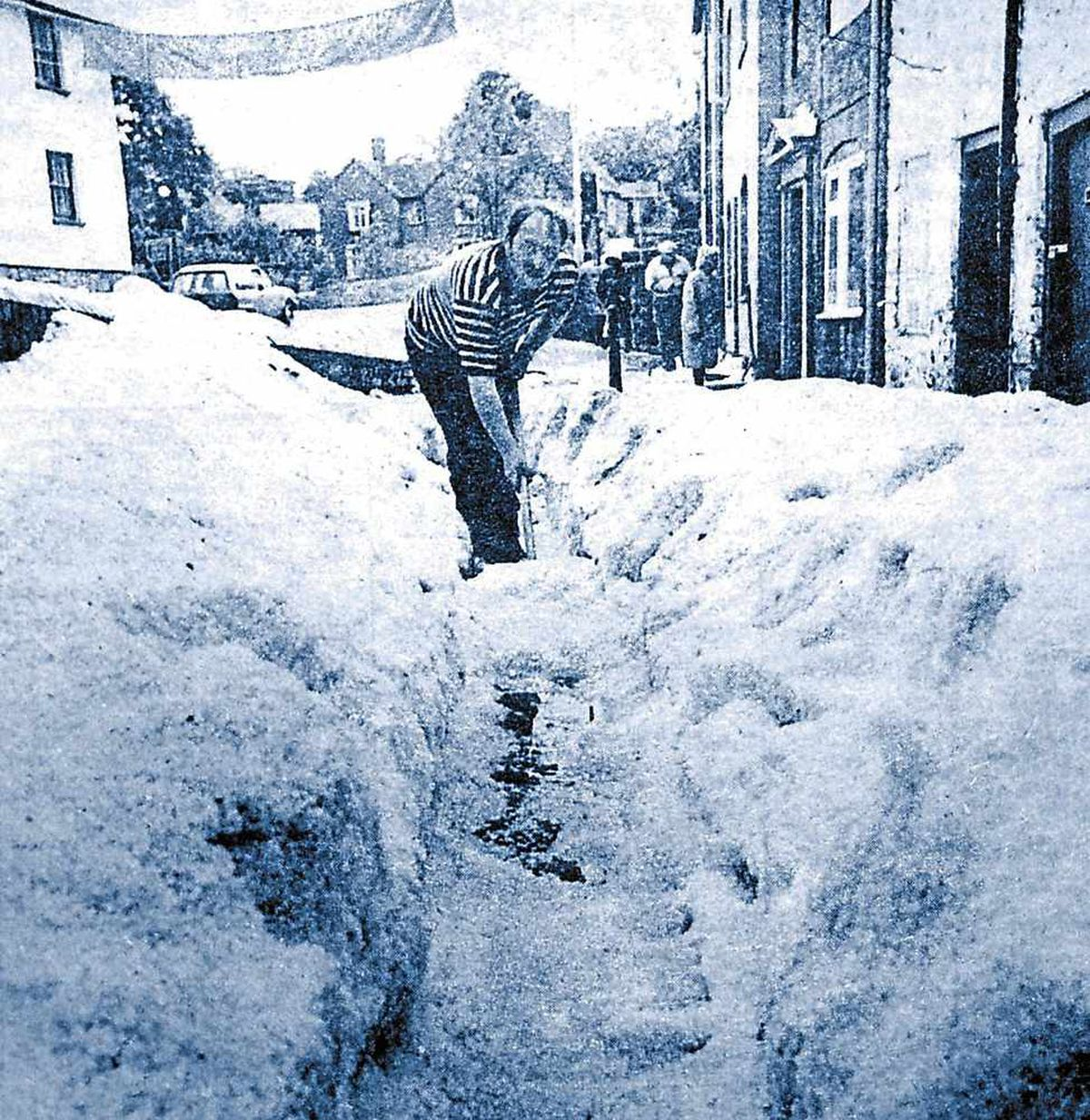 And finally . . . believe it or not this was Ludlow in JUNE 1982 after a freak hail storm – what a year for weather!