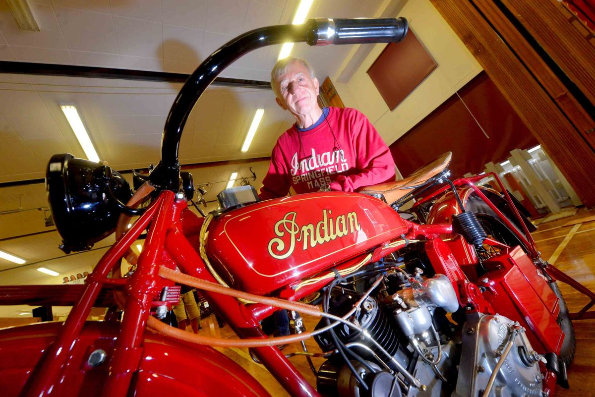 Brian Glover from Shropshire with his 1926 Indian Scout.