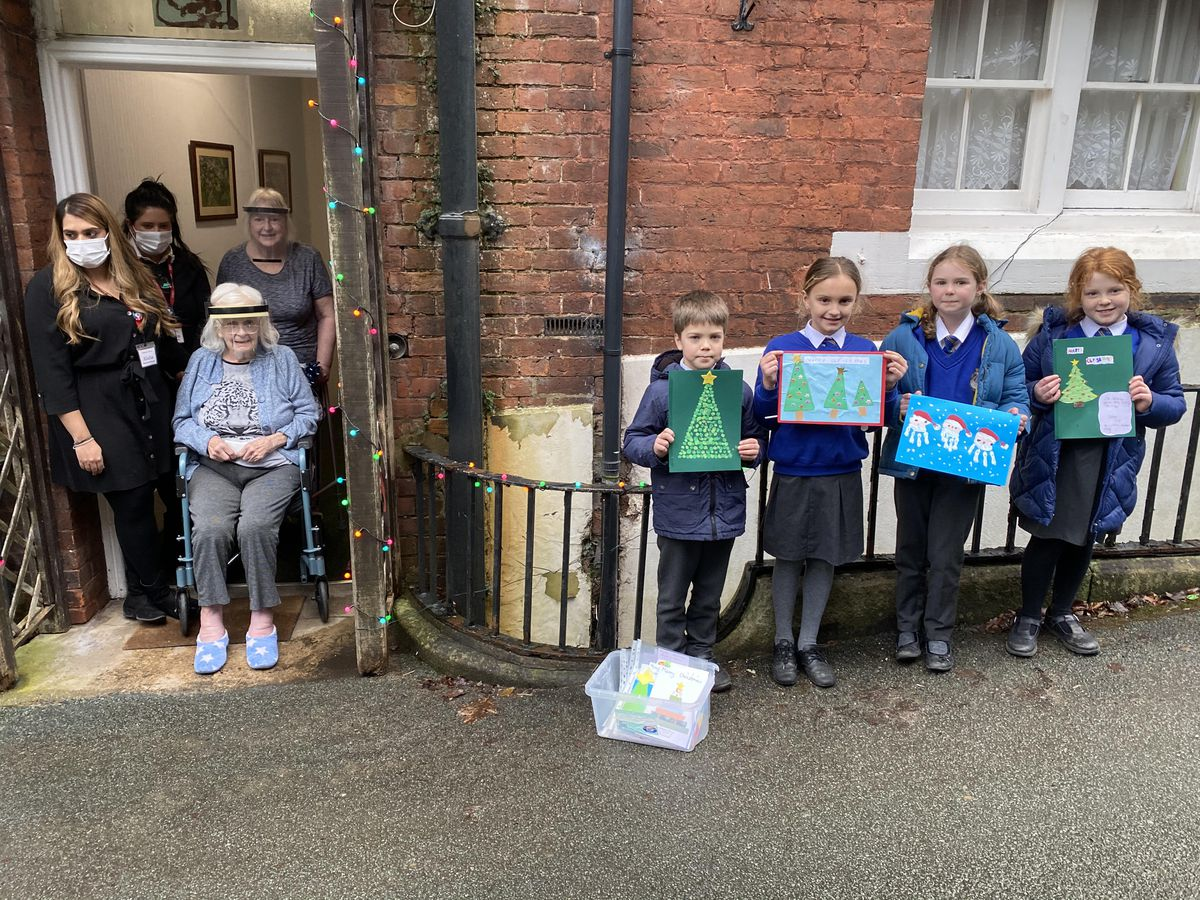 Some of the children from Ellesemere Primary School at Ellesmere House care home