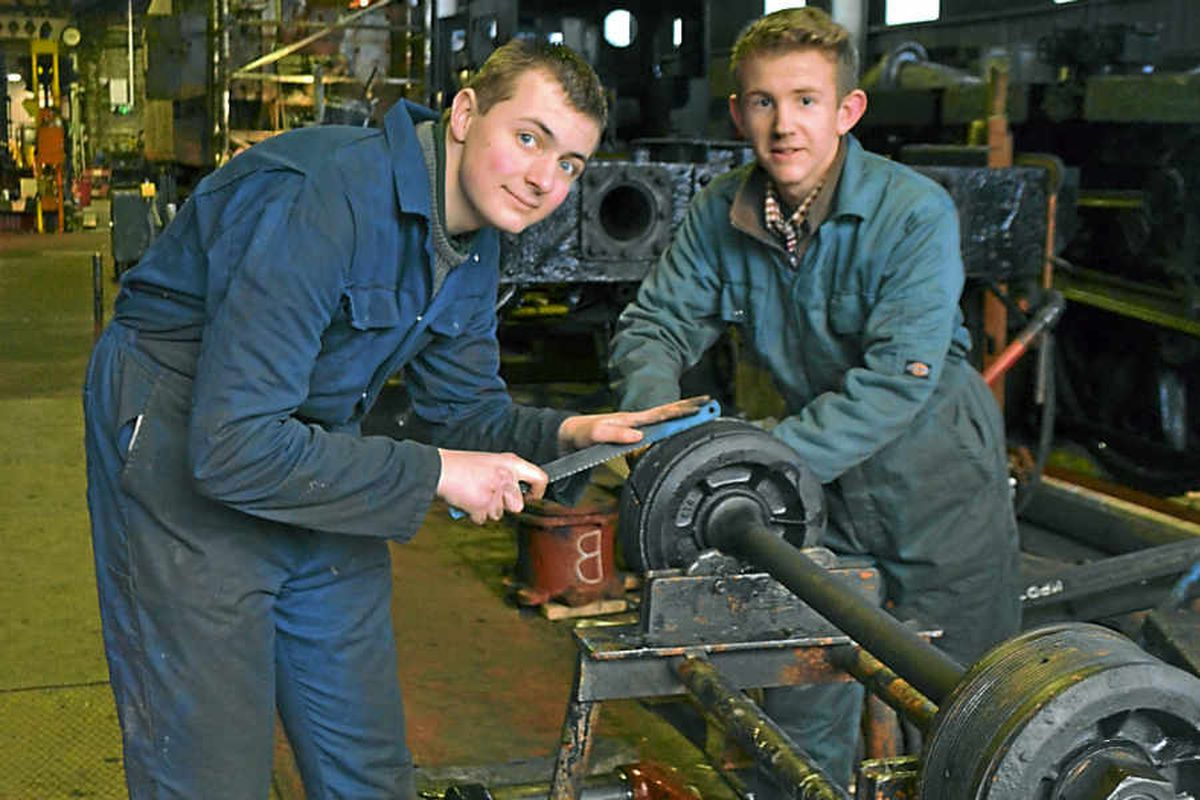 James Lewis and Max Green enjoy their work as apprentices at the railway