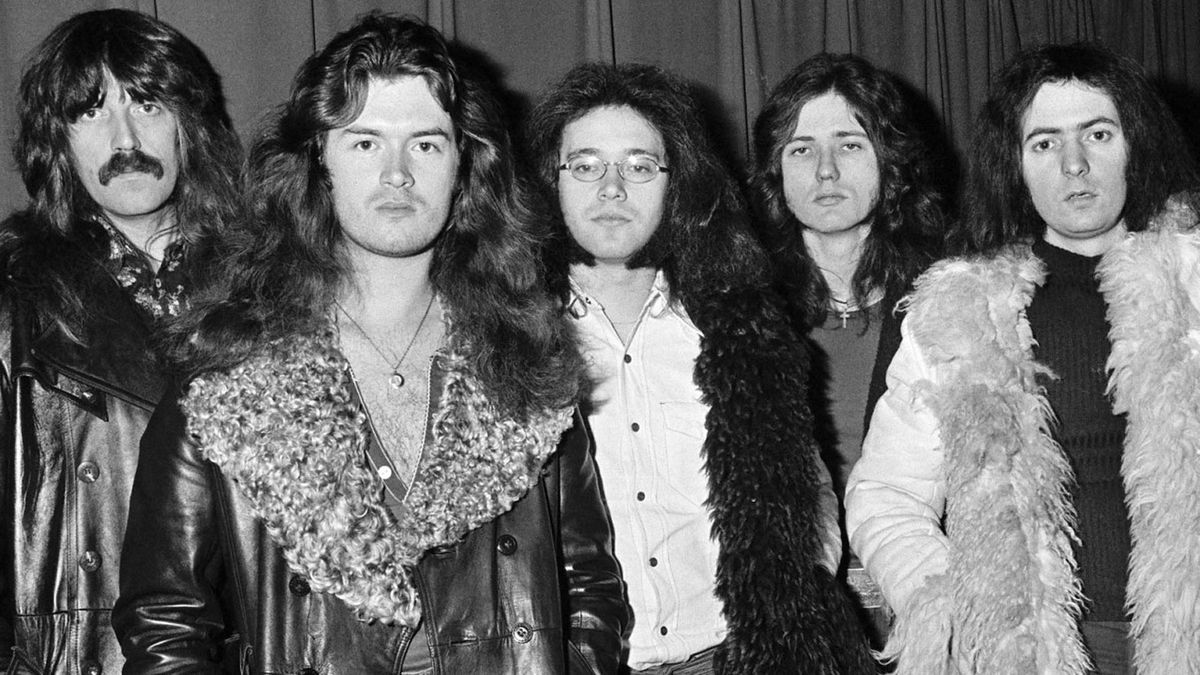 Jon Lord, Glenn Hughes, Ian Paice, David Coverdale, Richie Blackmore of Deep Purple pose for a group portrait on December 9th 1973 in Copenhagen, Denmark