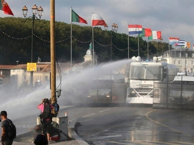 French police use water cannon on G7 protesters