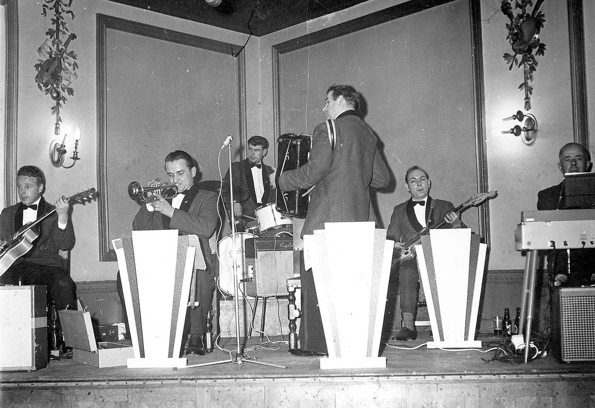 Let's face the music... The Esmond Betton Dance Band playing at the Morris Ballroom in Shrewsbury in 1961. From left, Michael Kennedy on guitar, Gunas Scudra on trumpet, Tony Beamond on drums, Esmond Betton on accordion, Graham Jones on bass, and Victor Freeman on organ.