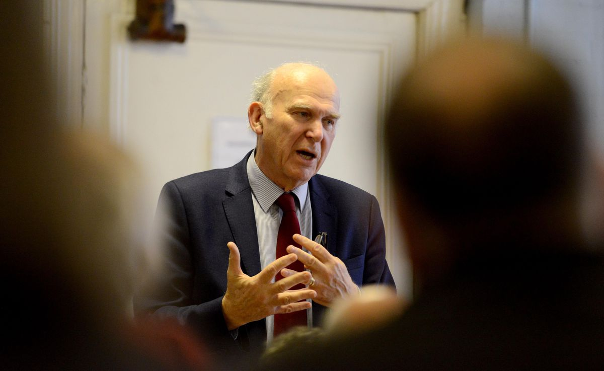 Vince Cable speaking at Welshpool Town Hall