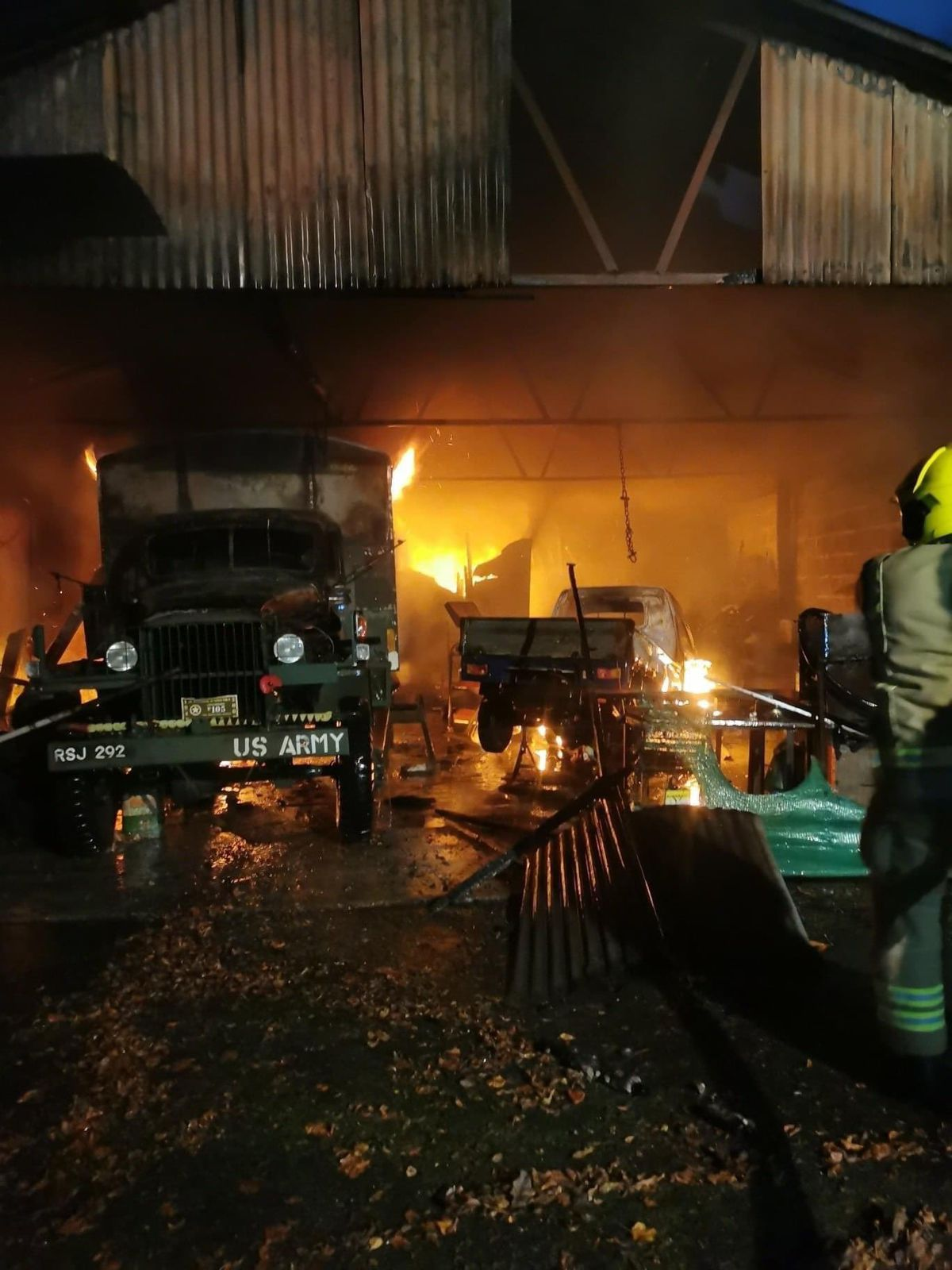 Fire crews at an outbuilding in Ludlow. Pic @HWFireLeominstr