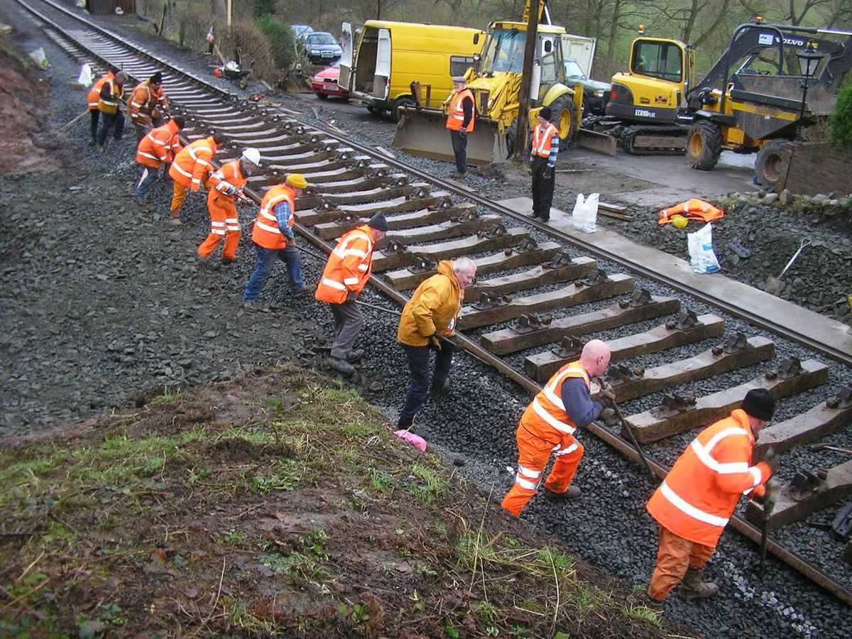 Team effort- despite the devastating damage, the line was repaired in nine months, thanks to the mammoth effort of volunteers, staff and contractors working tirelessly along the line