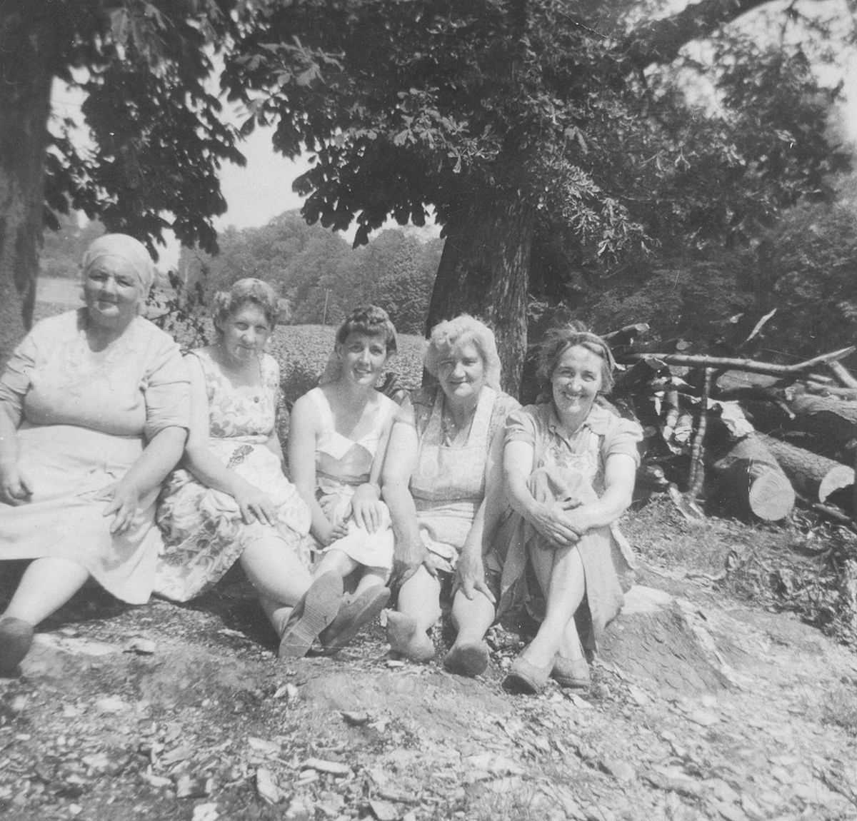 These ladies were having a well earned break from potato picking at Mr Griffiths' Farm, near Norton, between Bridgnorth and Telford, some time in the 1960s. From left, Mrs Owen, Mrs Rickers, Mrs Preece, Mrs Clarke, and Mrs Tranter, all from Madeley.