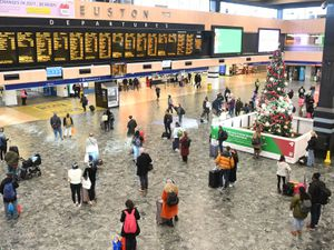 People at Euston station, London, with the public being urged to adhere to Government guidance