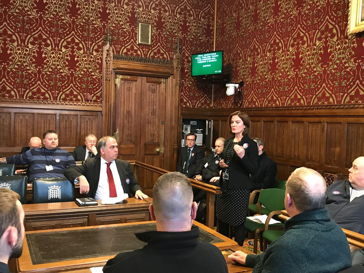 Telford MP Lucy Allan addresses GKN workers in the House of Commons