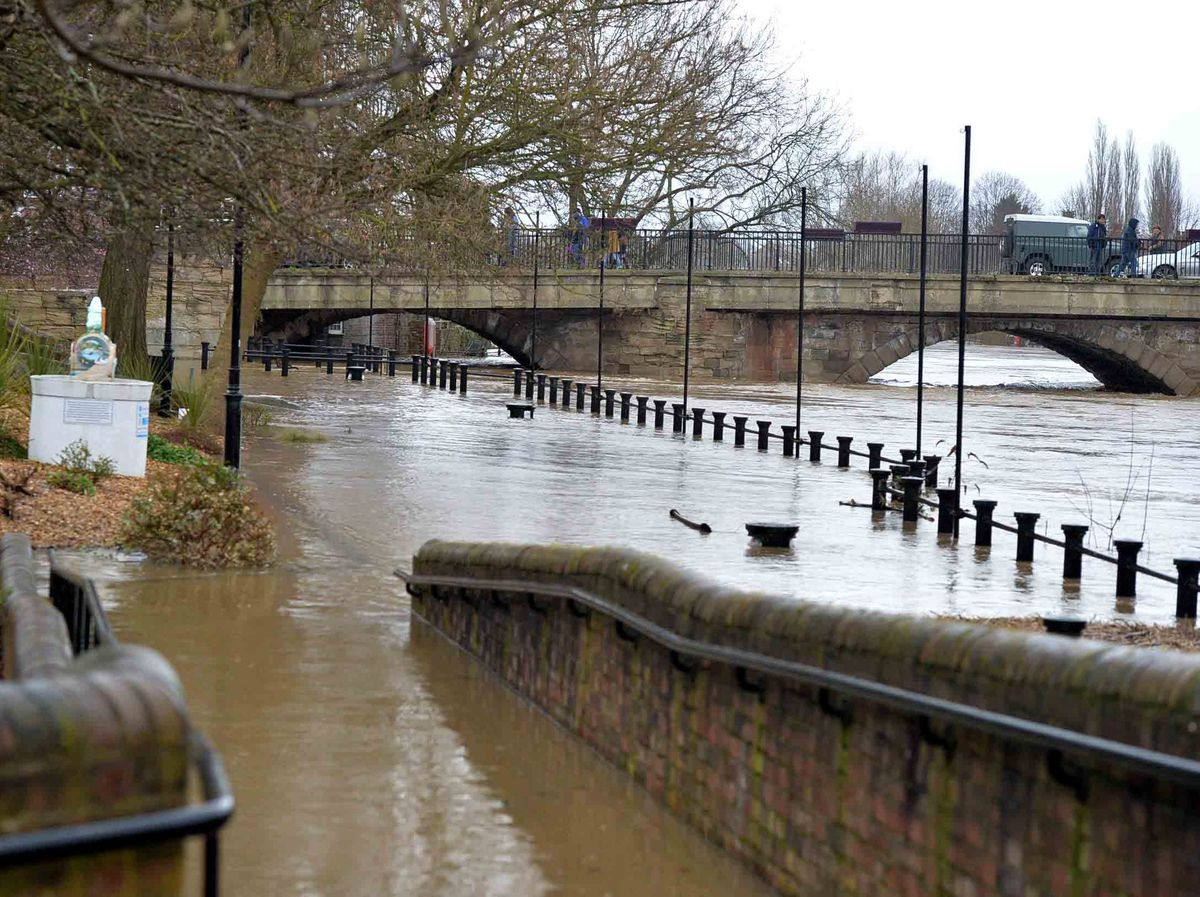 The overflowing River Severn in Bridgnorth on Tuesday