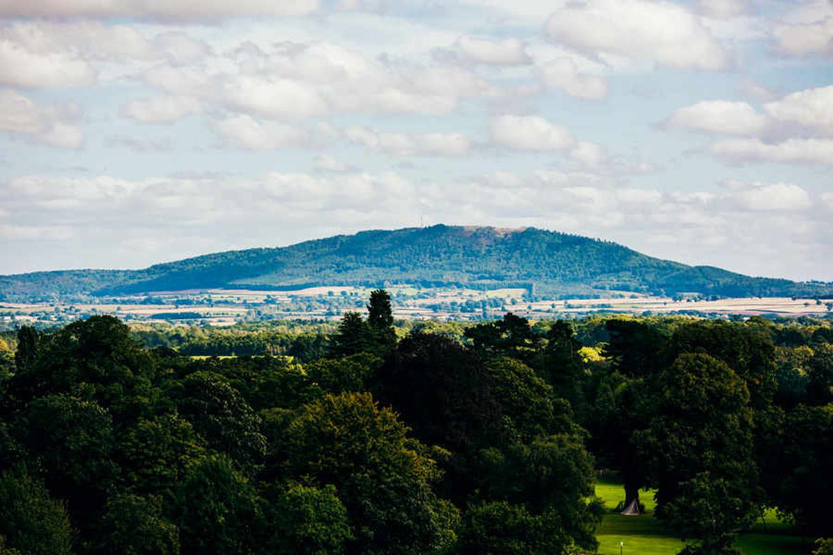 The Wrekin seen from the top of Lord Hill's Column in Shrewsbury