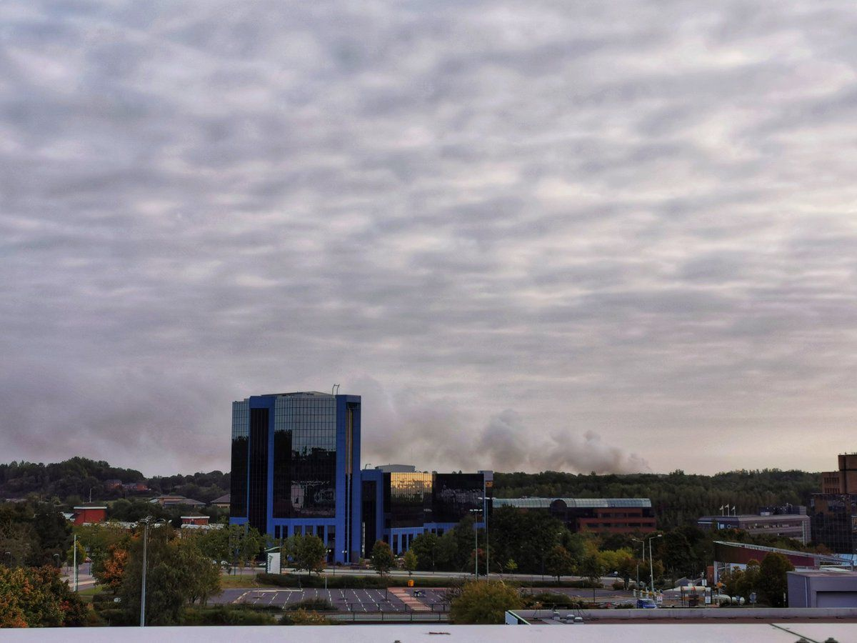 Smoke from the fire seen from Telford town centre. Photo: Liam Ball (@Liam_Ball92)