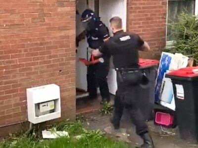 WATCH: Police break down door in Telford drugs raid