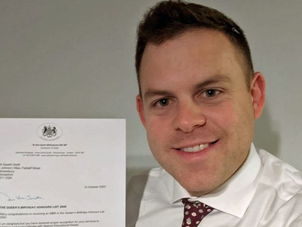 Gareth Smith was awarded an MBE in the Queen's Birthday Honours earlier this month