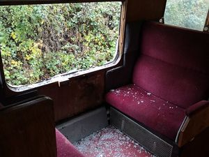 One of the damaged carriages. Photo by Llangollen Railway
