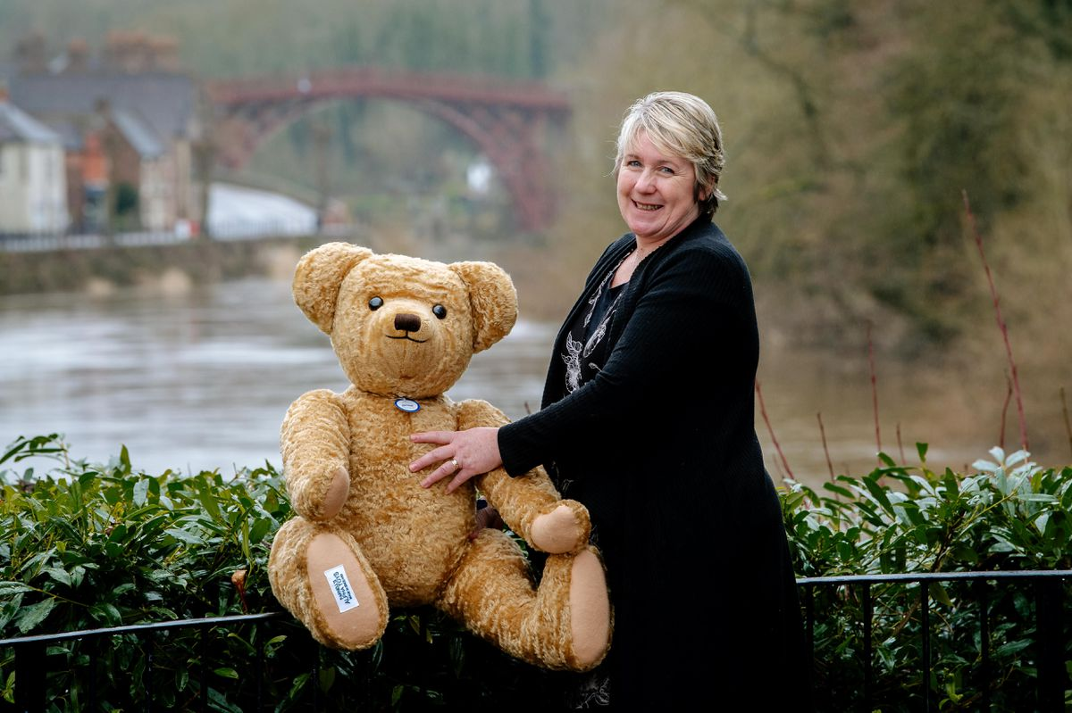 Edward Bear celebrates his 100th birthday at Merrythought with office manager Louise Noon
