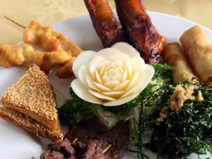 Taste of the Orient – the platter for two to share                                                                                                                                                                      Pictures by Russell Davies