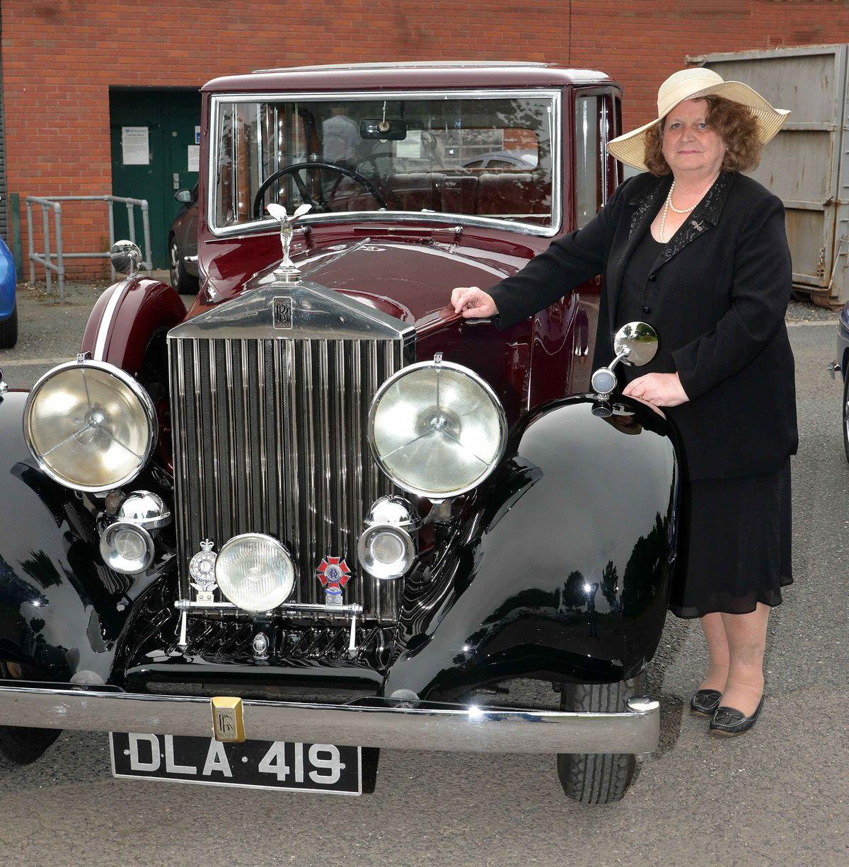 Diane Waldron with her 1936 Rolls Royce 25/30 car