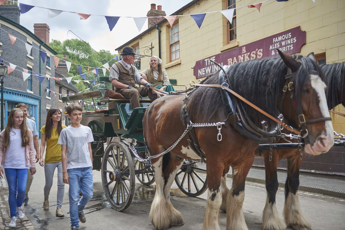 A horse and cart ride at Blists Hill prior to the attraction's closure.