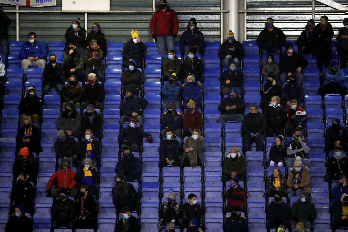 Shrewsbury Town fans inside the stadium during the Sky Bet Championship match at Montgomery Waters Meadow Shrewsbury. PA